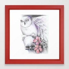owl and skull Framed Art Print
