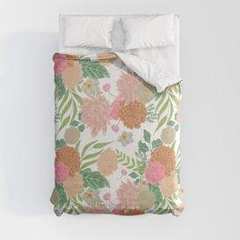 Spring Bouquet Illustration, soft pastel colors on white background, original art. Comforters