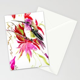 Little Hummingbird and Tropical Pink Flowers Stationery Cards