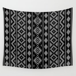 Aztec Essence Ptn III Grey on Black Wall Tapestry