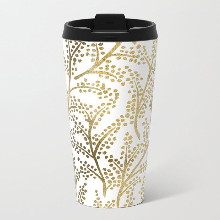 Gold Branches Metal Travel Mug