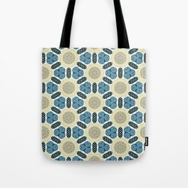 Somerset ink blue trinkets on beige khaki pattern Tote Bag