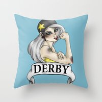 roller derby Throw Pillows featuring Roller Derby  by Hungry Designs