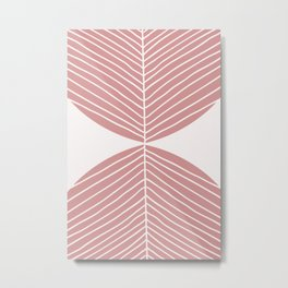 Soft Pink Minimal Fall Leaf Metal Print