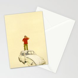 man listening the universe Stationery Cards