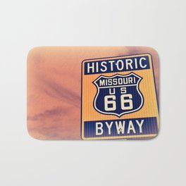 Historic route 66 highway sign in Missouri USA Bath Mat