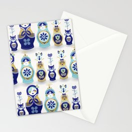 Russian Nesting Dolls – Blue & Gold Stationery Cards