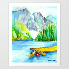 Lake Louise Watercolor Art Print