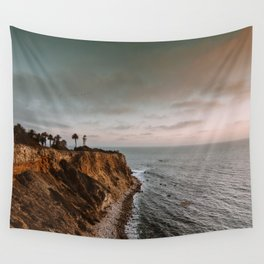 California Lighthouse Sunset Wall Tapestry