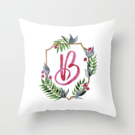 Jungle Gold Monogram Crest B Throw Pillow