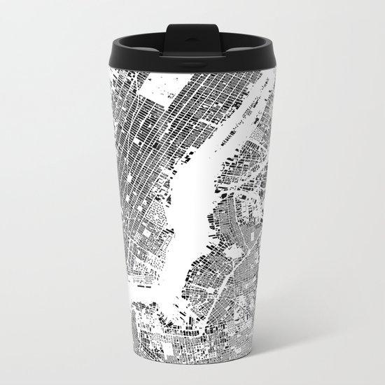 New York Map Schwarzplan Only Buildings Metal Travel Mug