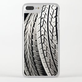 used black tires in row Clear iPhone Case