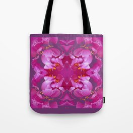 Geometric Flowery  Fuchsia-pink, greyish-Egg plant Purple-purple Floral Abstract Pattern Tote Bag