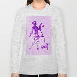 Purple glam lady & dog super plastic fantastic Long Sleeve T-shirt