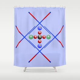 Pool Game Design v3 Shower Curtain