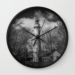 Grosse Point Poe Style Lighthouse Lake Michigan Evanston Illinois Black and White Wall Clock