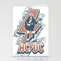 acdc Stationery Cards featuring acdc angus young by aceofspades81