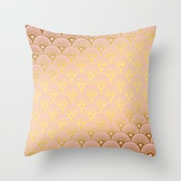 Gold and pink sparkling Mermaid pattern Throw Pillow