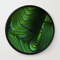 malachite Wall Clocks featuring Malachite by Vix Edwards - Fugly Manor Art