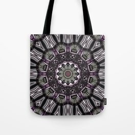 Mandala in black and white with hint of purple and green Tote Bag