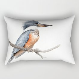 Kingfisher Bird Watercolor Illustration Rectangular Pillow