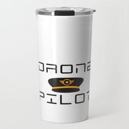 Funny Drone Quad-copter Pilot design With Captain Hat Tee Travel Mug