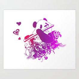 Panda Flute Art Print