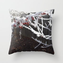 Frost Spiked Crabapple Tree Throw Pillow