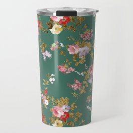 Country chic forest green gold boho floral Travel Mug