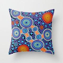 Authentic Aboriginal Art - The Journey Blue Throw Pillow
