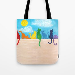 Catch A Rainbow - Cats on a Wall Tote Bag