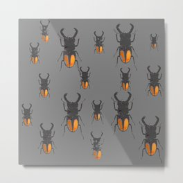 NATURE LOVERS STAG HORNED BEETLES BUG GREY ART M Metal Print