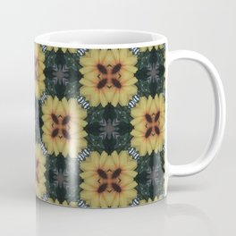 Abstract Summer Yellow Flower Square Pattern Coffee Mug