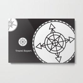 Travel Expert: Black Metal Print