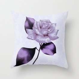 purple satiny rose on soft blue background Throw Pillow