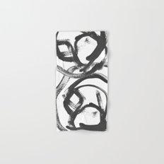 Interlock black and white paint swirls Hand & Bath Towel