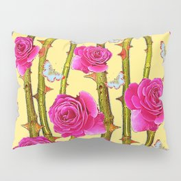 WHITE BUTTERFLIES & CERISE PINK ROSE THORN CANES YELLOW Pillow Sham