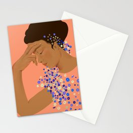 Blooming Blues_ peach  Stationery Cards