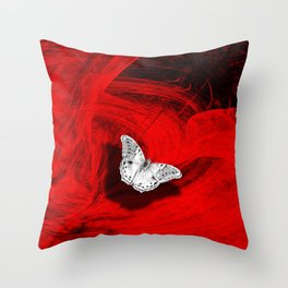Silver butterfly emerging from the red depths Throw Pillow