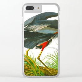 Great blue heron John James Audubon Vintage Scientific Bird Illustration Clear iPhone Case