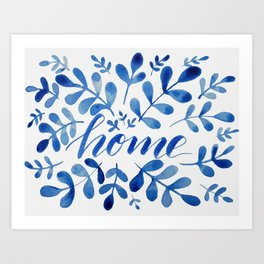 Watercolor home foliage - blue Art Print