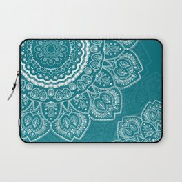 Mandala in White on Teal Laptop Sleeve