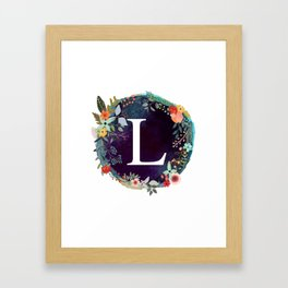 Personalized Monogram Initial Letter L Floral Wreath Artwork Framed Art Print