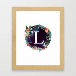 Personalized Monogram Initial Letter L Floral Wreath Artwork Framed Art Print