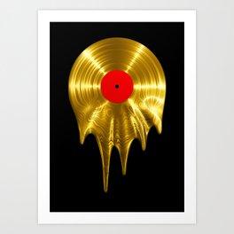 Melting vinyl GOLD / 3D render of gold vinyl record melting Art Print