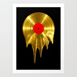 Melting vinyl GOLD / 3D render of gold vinyl record melting Kunstdrucke