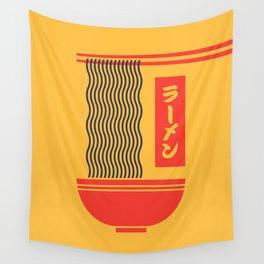 Ramen Japanese Food Noodle Bowl Chopsticks - Yellow Wall Tapestry