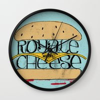 pulp fiction Wall Clocks featuring Pulp Fiction by Drew Wallace