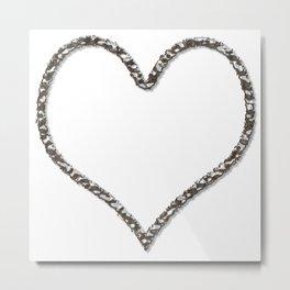 Liquid Metal Heart Shaped Frame Metal Print