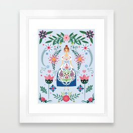 Fairy Tale Folk Art Garden Framed Art Print